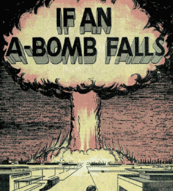 The cover for a pamphlet instructing what to do in the case of a nuclear explosion