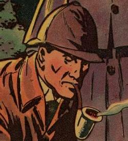 Sherlock Holmes smoking a pipe