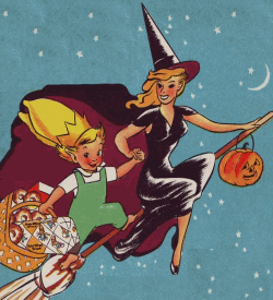 Peter Wheat on a glamorous witch's broomstick
