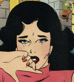 A comic book representation of a crying woman