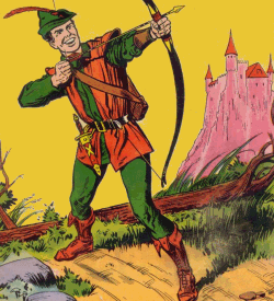 Robin Hood about to shoot an arrow with a pink castle in the background