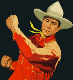 Buck Jones swinging a punch