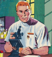 A doctor with a microscope