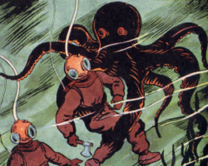 An octopus attacking divers in bug-eyed suits