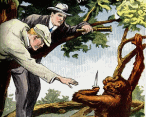 Two men reaching out to a monkey with a knife