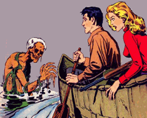A couple in a canoe lost with a ghoul appearing