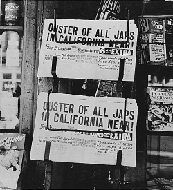 Newspaper headlines about Japanese American internment