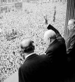 Churchill celebrating VE day