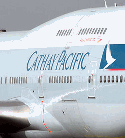 Cathay Pacific logo on a plane