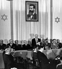 David Ben Gurion declaring the State of Israel