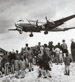 A plane landing during the Berlin Blockade