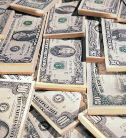 A stack of dollar bills