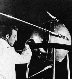 A technician with Sputnik 1