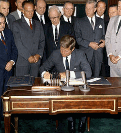 Kennedy Signs Partial Nuclear Test Ban Treaty
