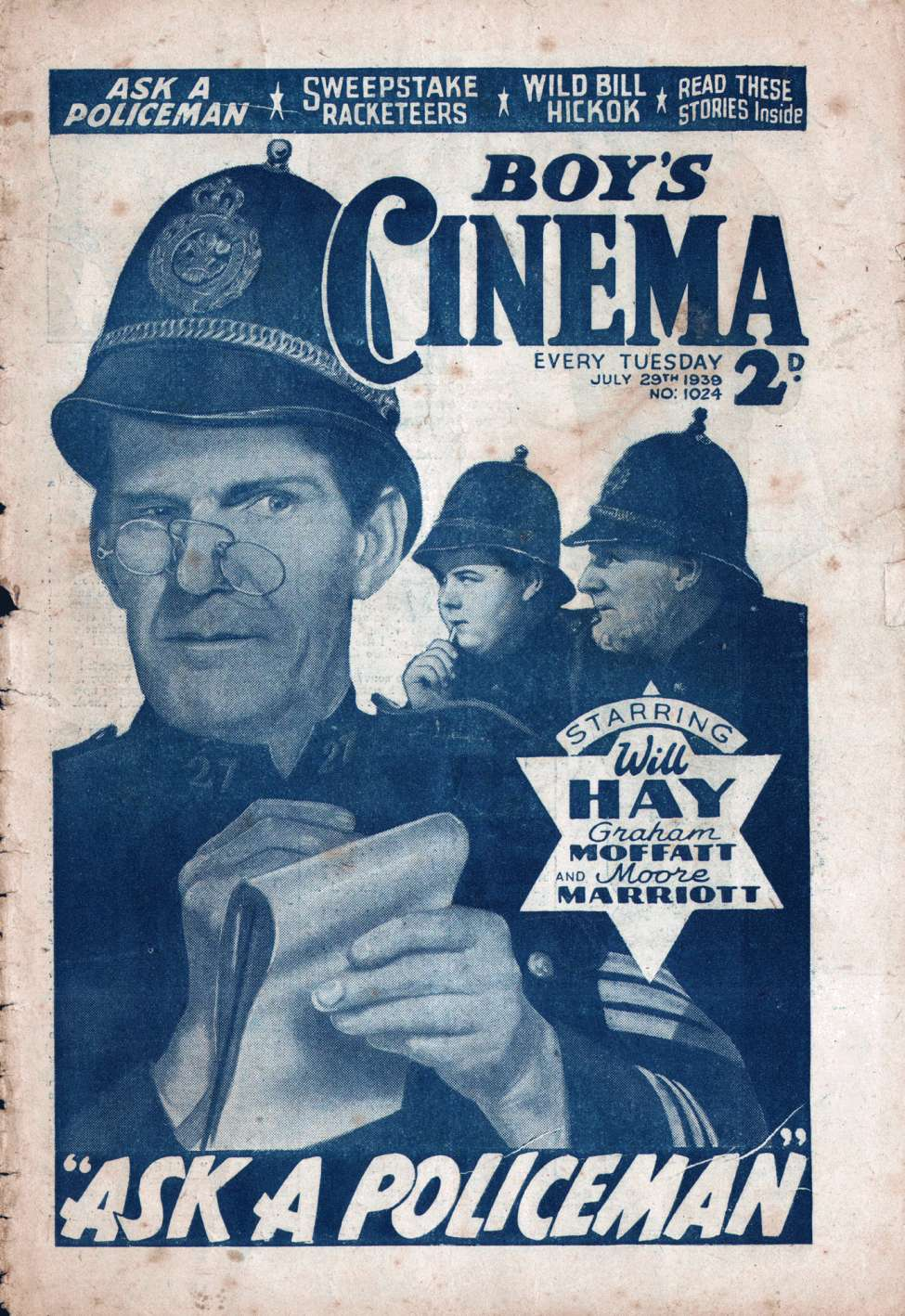Comic Book Cover For Boy's Cinema 1024 - Ask A Policeman starring Will Hay