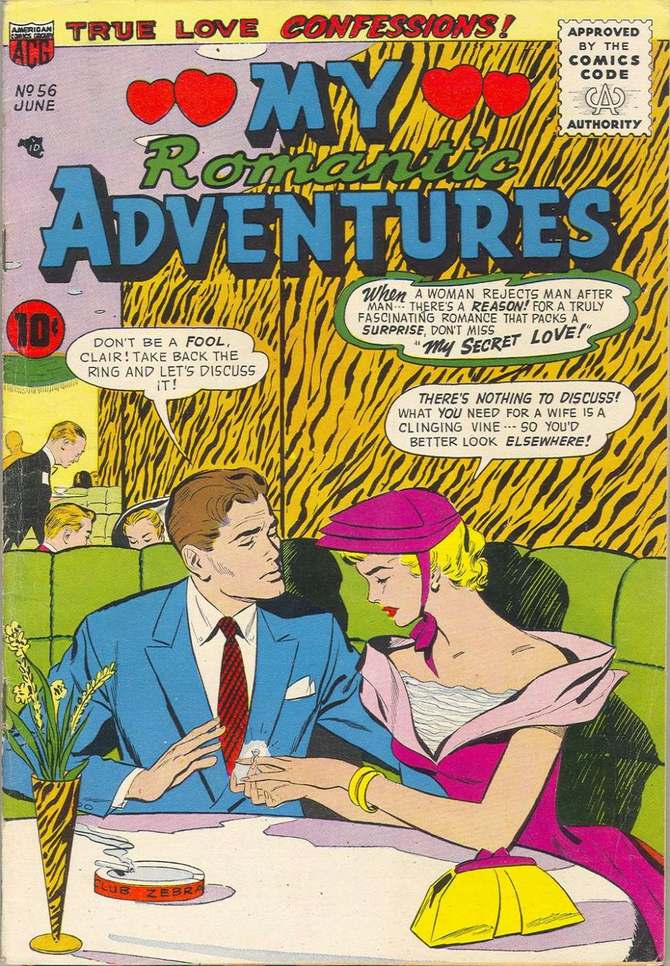 Comic Book Cover For Romantic Adventures #56