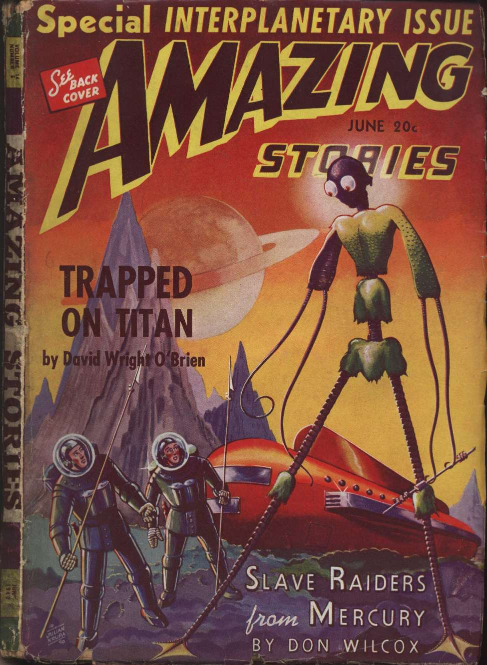 Comic Book Cover For Amazing Stories v14 06 - Slave Raiders from Mercury - Don Wilcox
