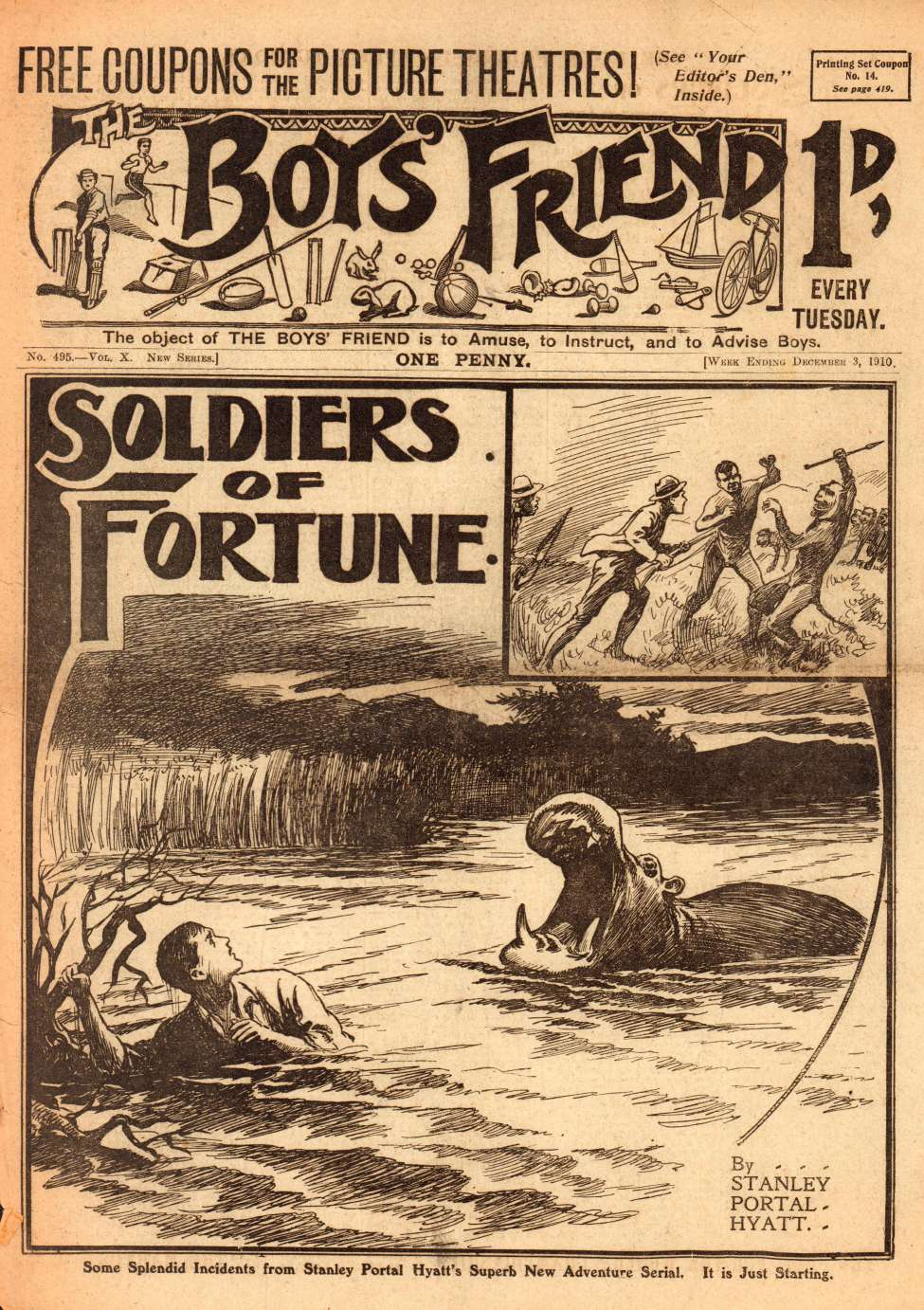 Comic Book Cover For The Boys' Friend 0495 - Soldiers of Fortune