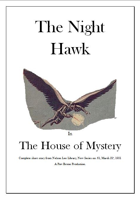 Comic Book Cover For The Night Hawk