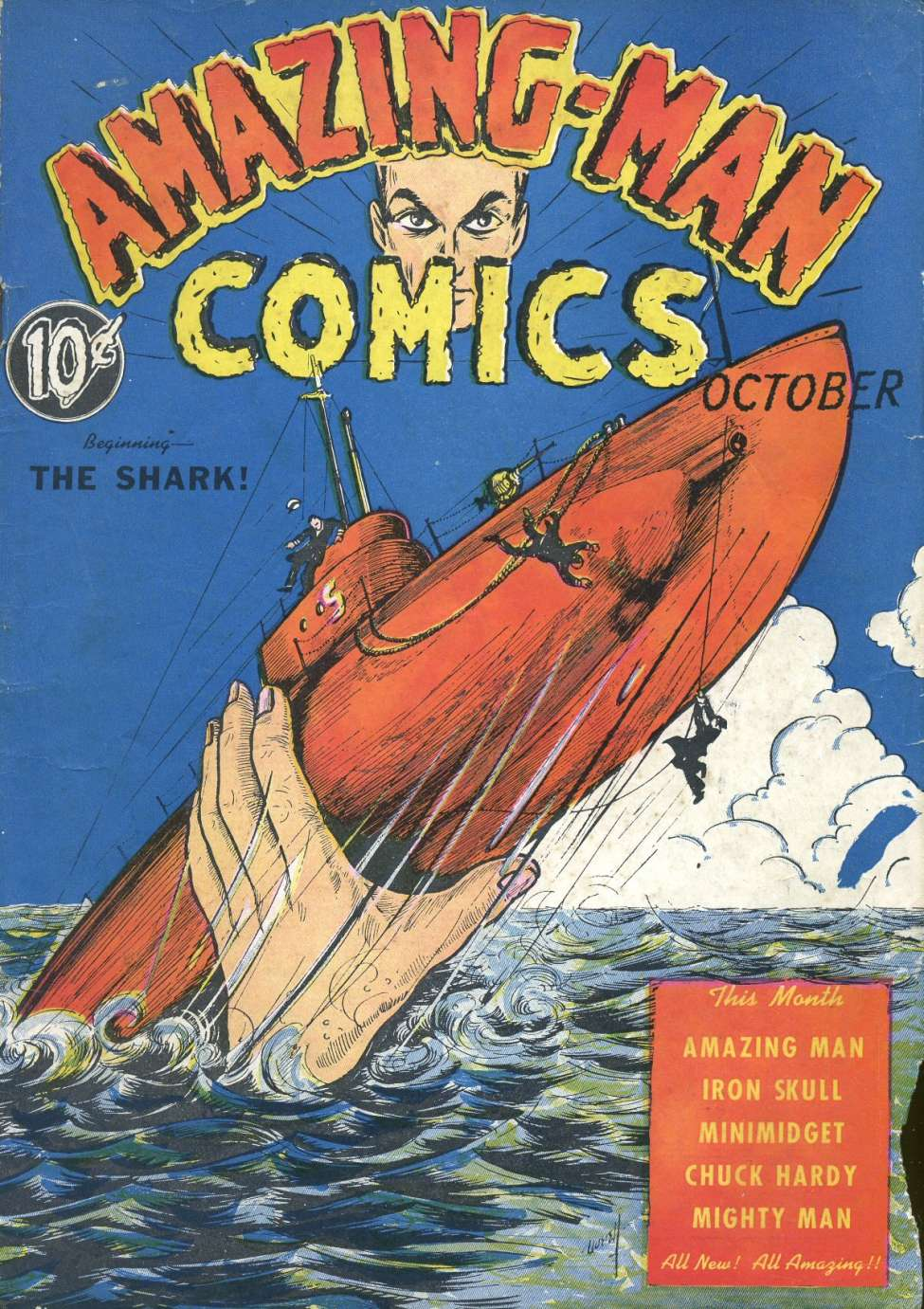 Comic Book Cover For Amazing Man Comics #6