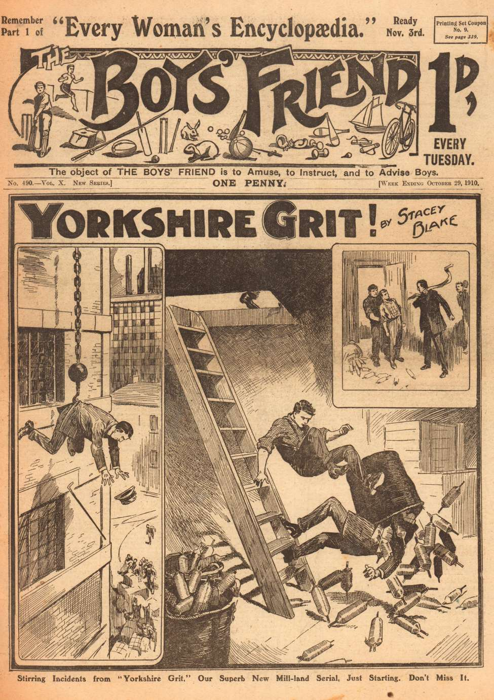 Comic Book Cover For The Boys' Friend 0490 - Yorkshire Grit
