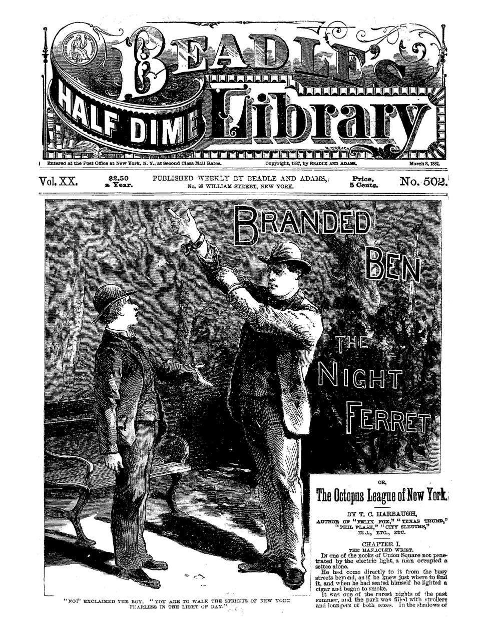 Comic Book Cover For Beadle's Half Dime Library 0502