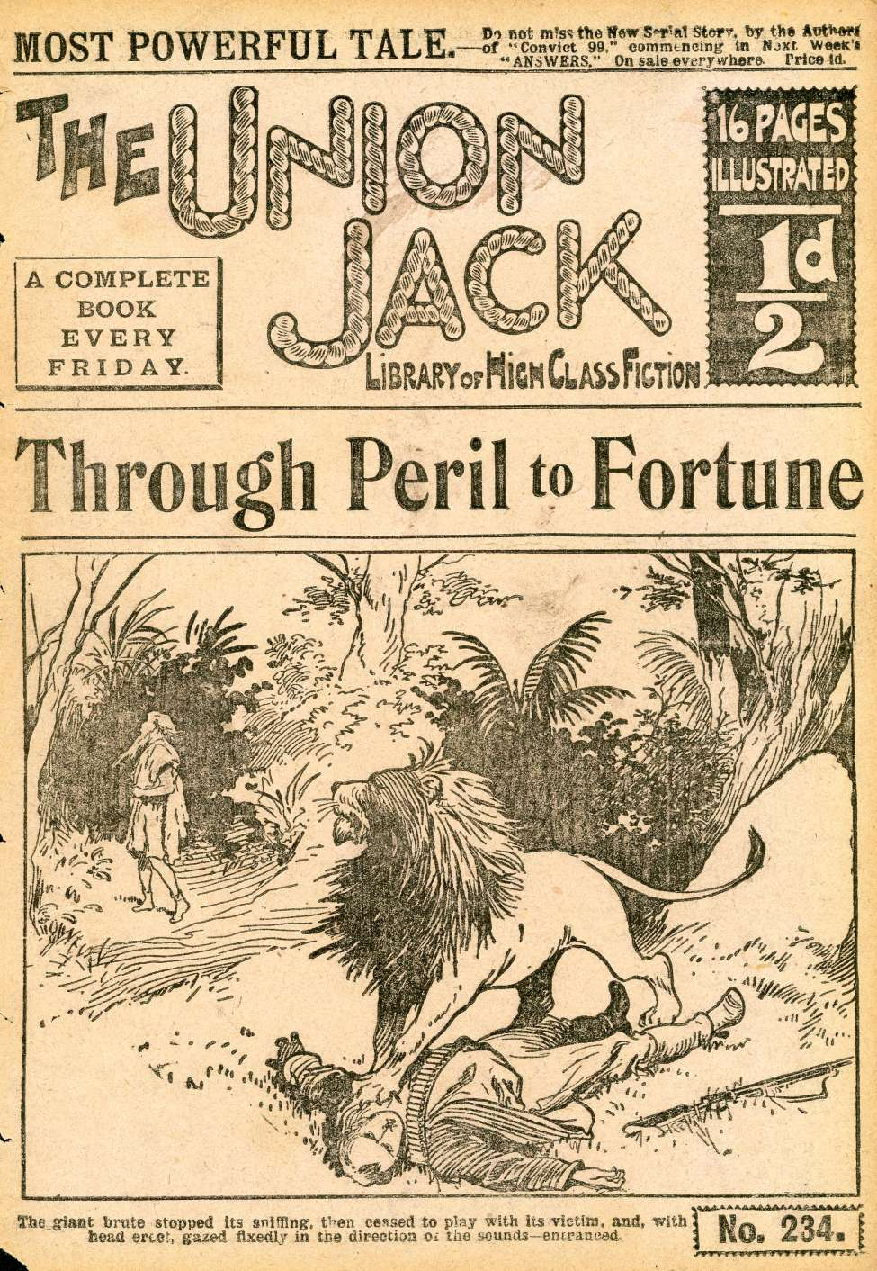 Comic Book Cover For The Union Jack 234 - Through Peril To Fortune