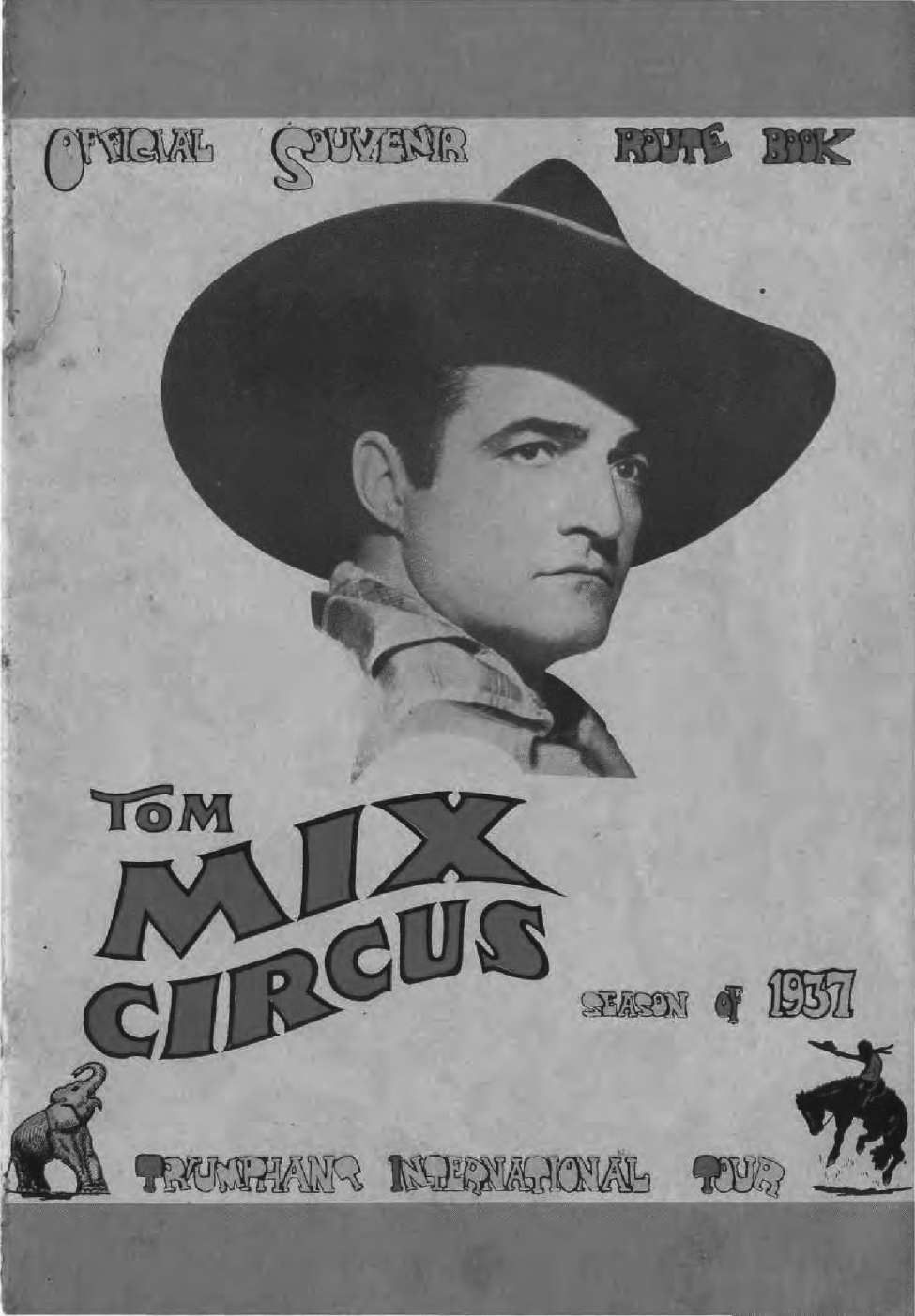 Comic Book Cover For Tom Mix Circus Souvenir Route Book - 1937