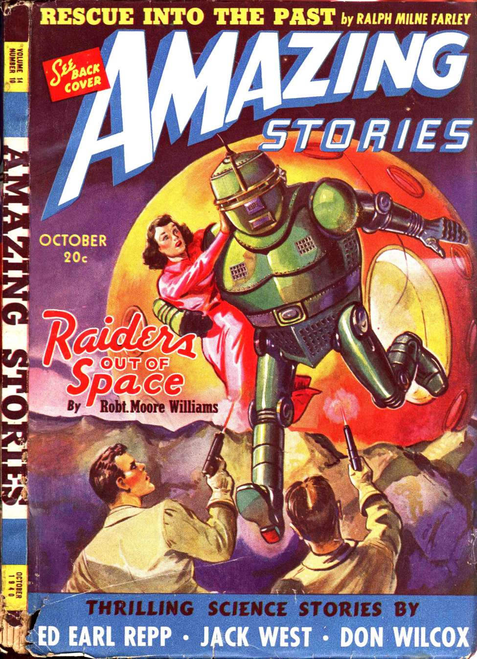 Comic Book Cover For Amazing Stories v14 10 - Raiders Out of Space - Robert Moore Williams