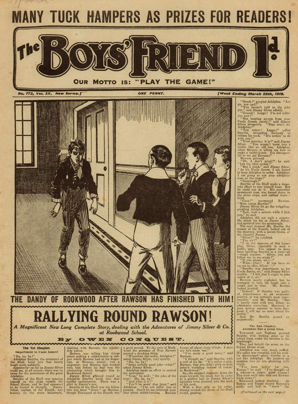Comic Book Cover For The Boys' Friend 0772 - Rallying Round Rawson!