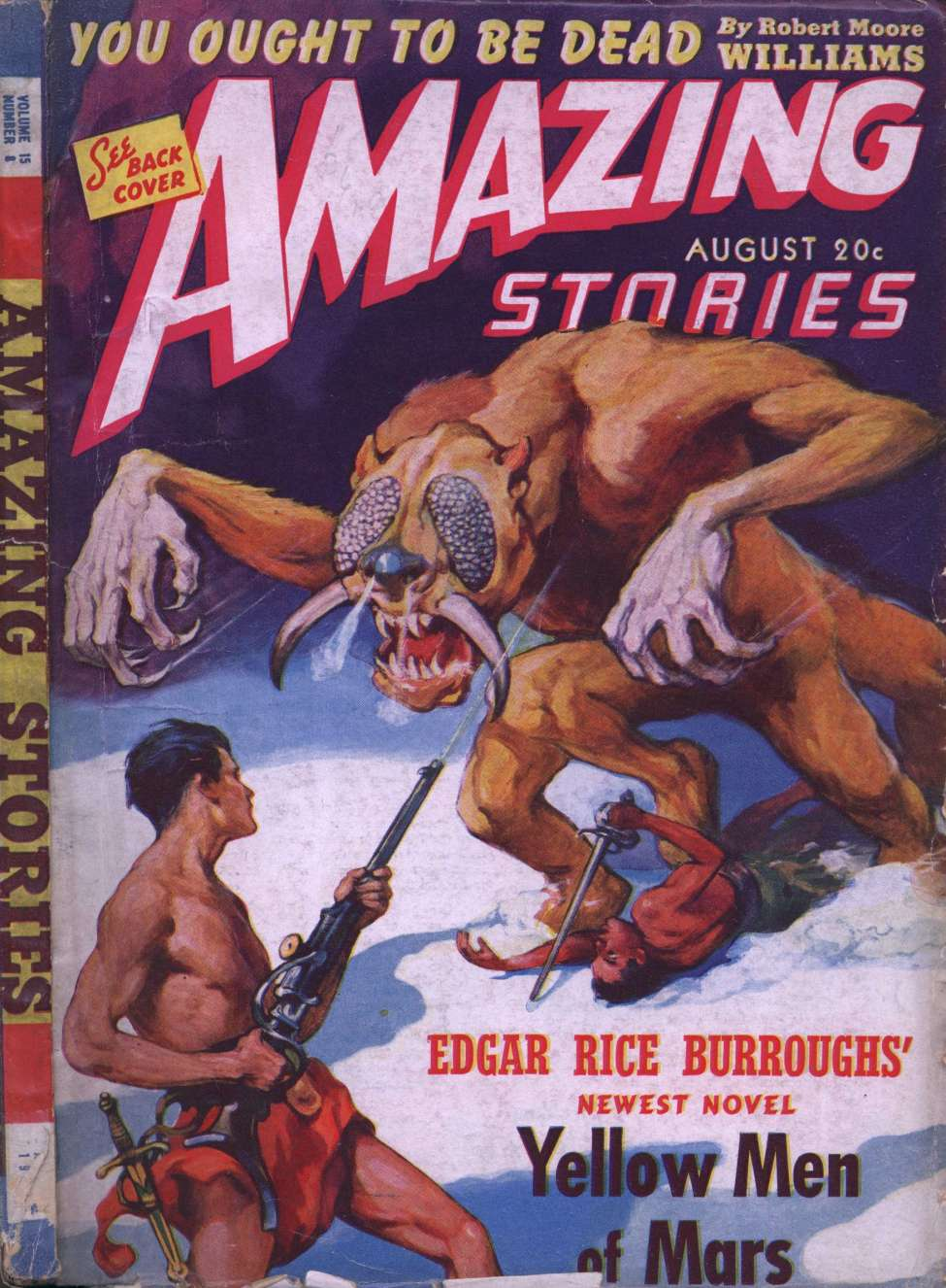 Comic Book Cover For Amazing Stories v15 08 - Yellow Men of Mars - Edgar Rice Burroughs