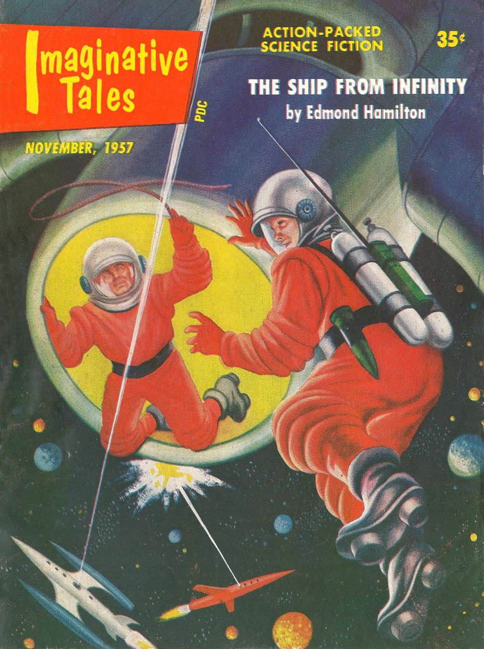 Comic Book Cover For Imaginative Tales v04 06 - The Ship from Infinity - Edmond Hamilton