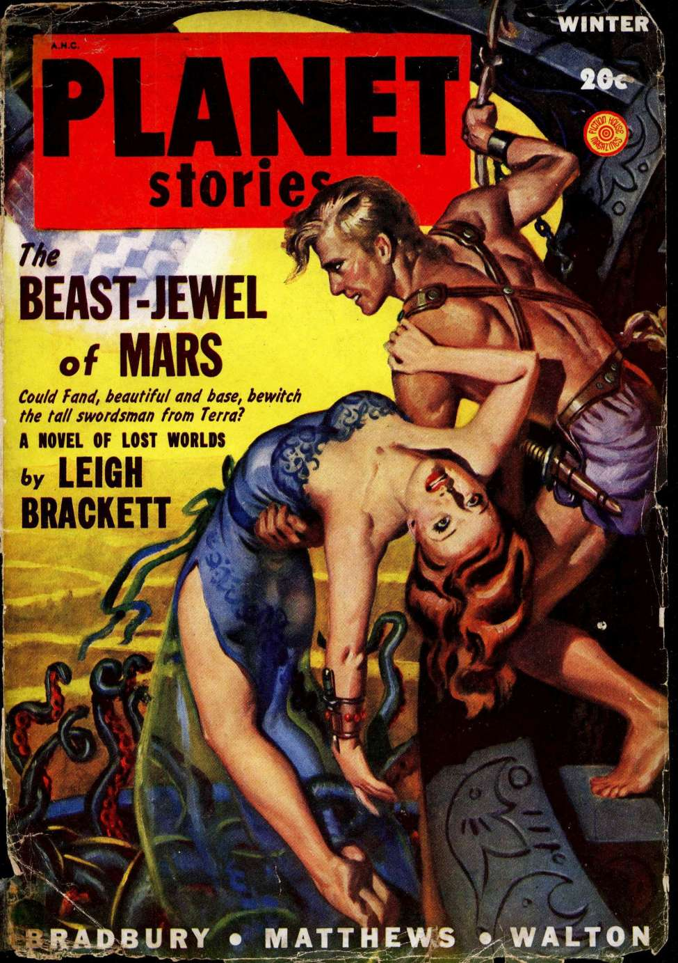 Comic Book Cover For Planet Stories v04 01 - The Beast-Jewel of Mars - Leigh Brackett
