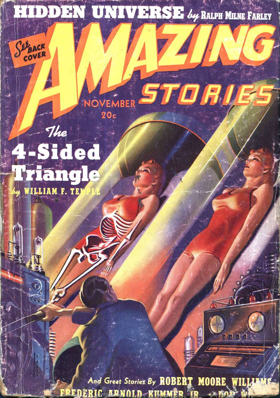 Comic Book Cover For Amazing Stories v13 11 - The 4-Sided Triangle - William F. Temple