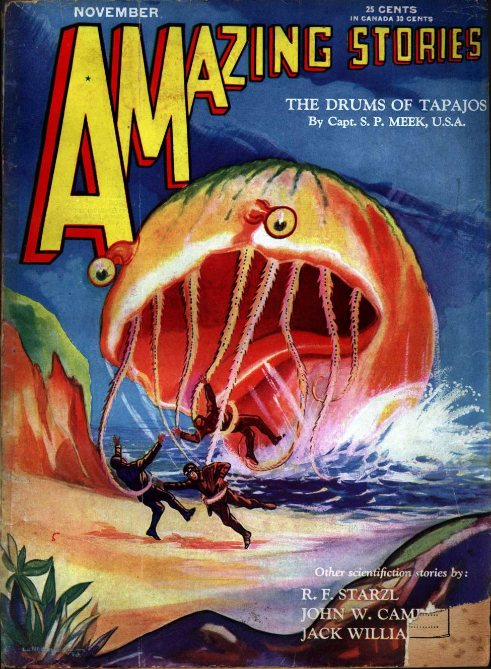Comic Book Cover For Amazing Stories v05 08 - The Drums of Tapajos - Capt. S. P. Meek