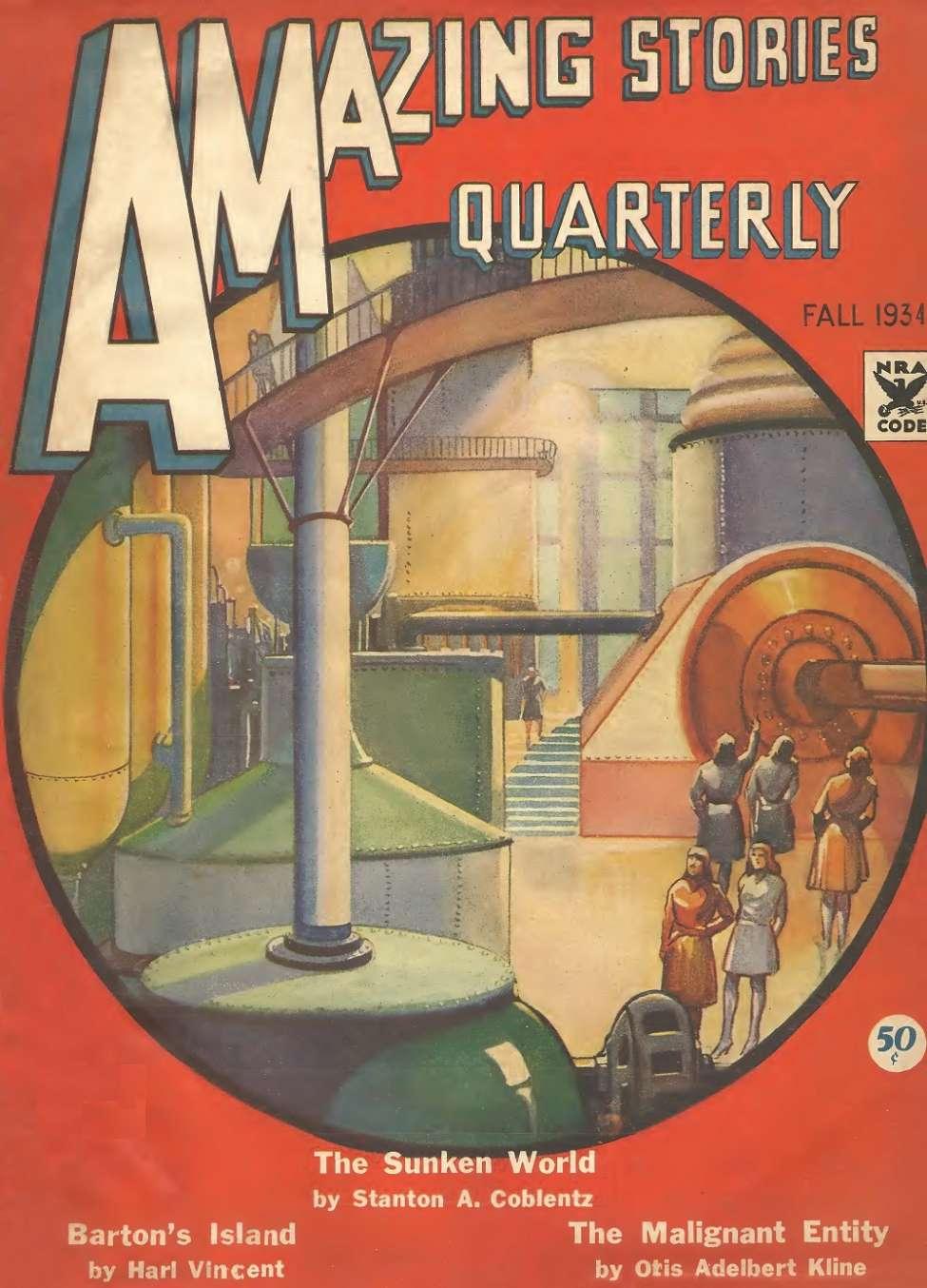 Comic Book Cover For Amazing Stories Quarterly v7 02 - The Sunken World - Stanton A. Coblentz