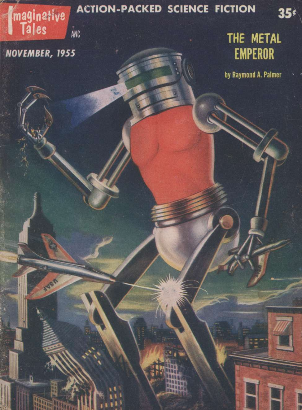 Comic Book Cover For Imaginative Tales v02 02 - The Metal Emperor - Raymond A. Palmer