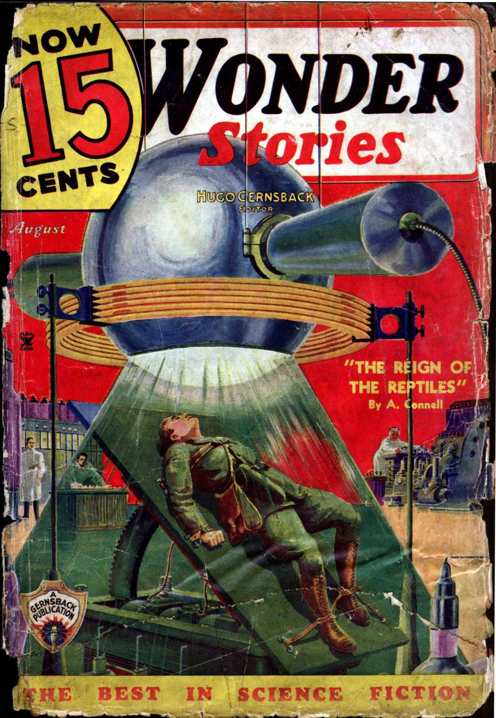 Comic Book Cover For Wonder Stories v7 03 - The Reign of the Reptiles - A. Connell