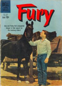 DELL 4 COLOR 1133 FURY HORSEY WESTERN TV/FILM PHOTO COVER 1960 SILVER AGE