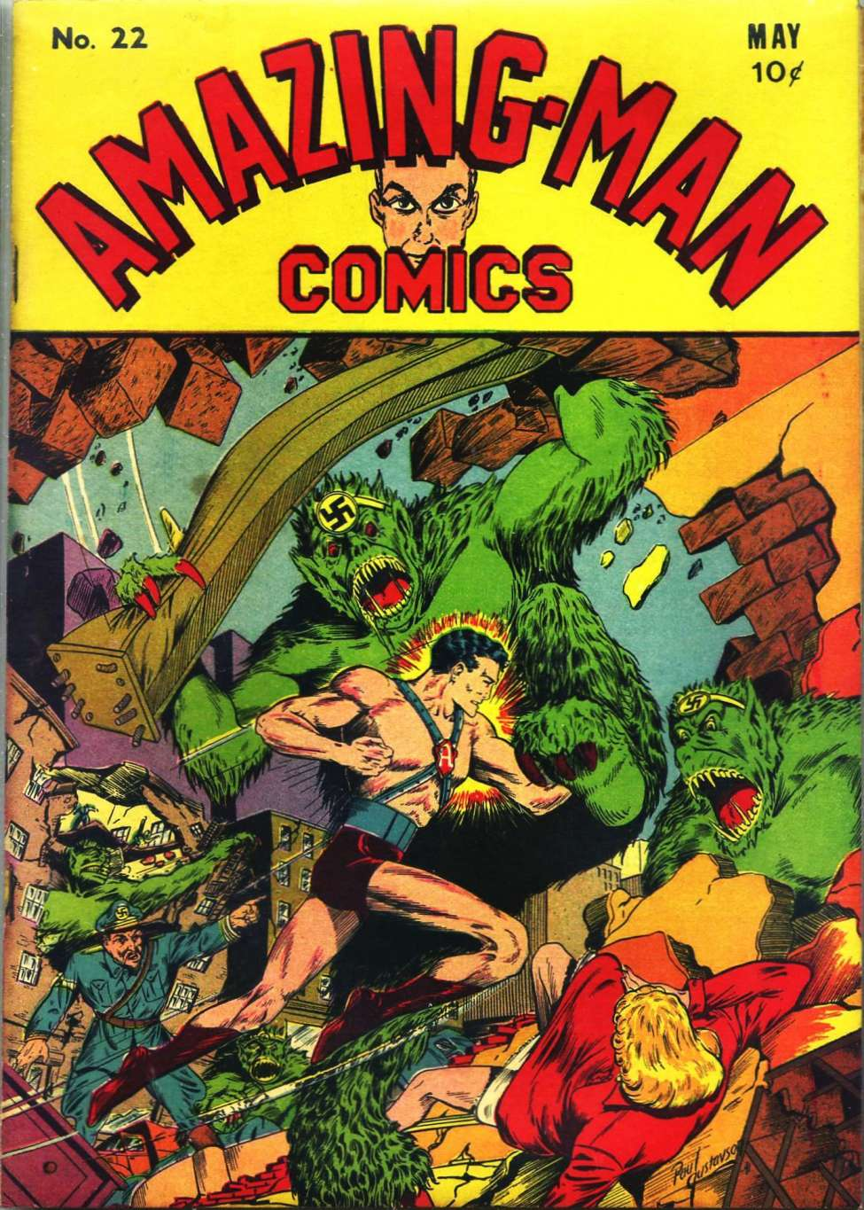 Comic Book Cover For Amazing Man Comics #22