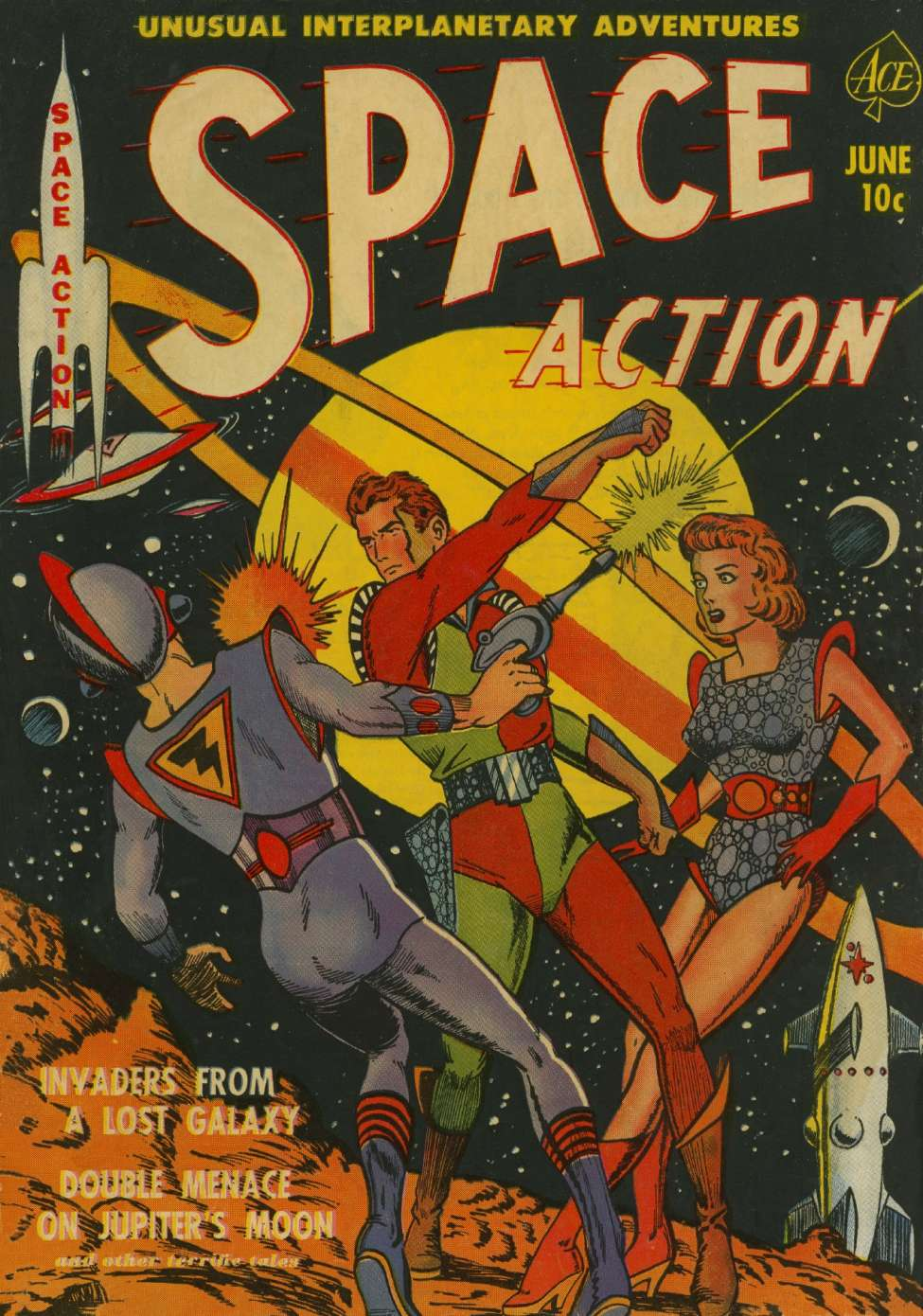 Classic Comic Book Cover Art ~ Space action ace magazines comic book plus