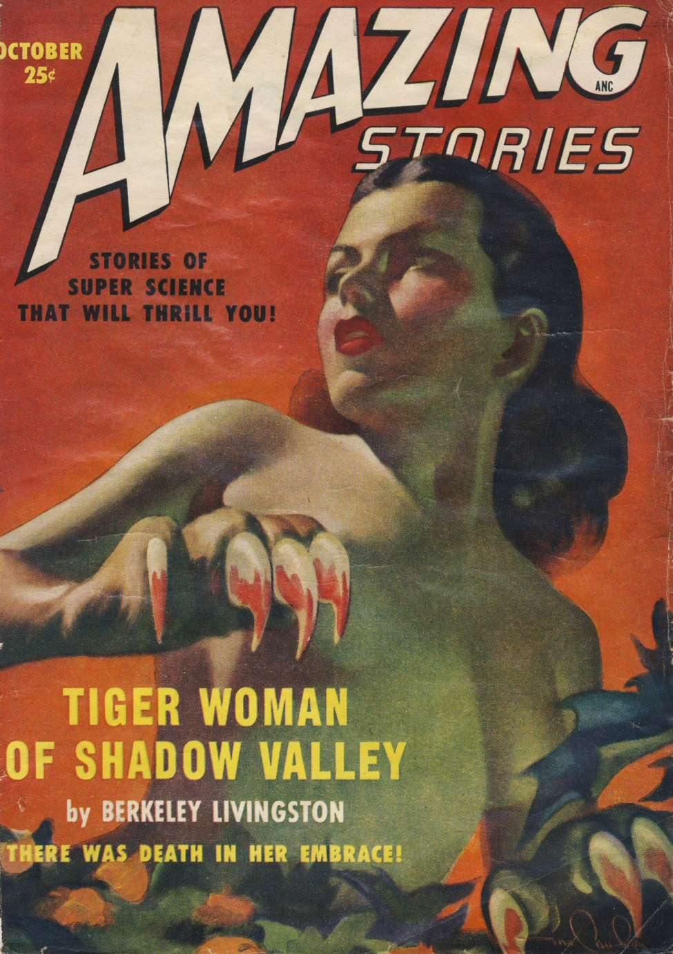 Comic Book Cover For Amazing Stories v23 10 - Tiger Woman of Shadow Valley - Berkeley Livingston