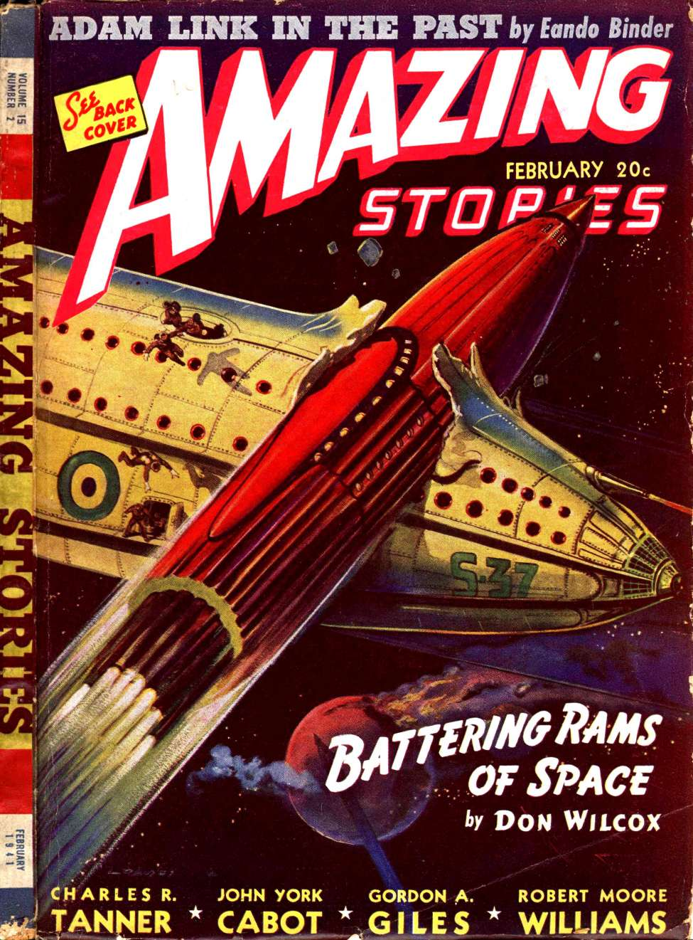 Comic Book Cover For Amazing Stories v15 02 - Battering Rams of Space - Don Wilcox