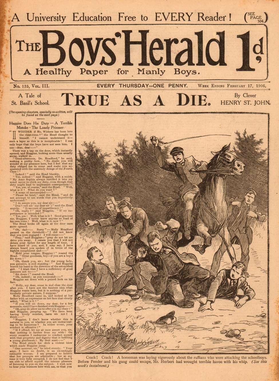 Comic Book Cover For The Boys' Herald 135 - Huggins Does His Duty