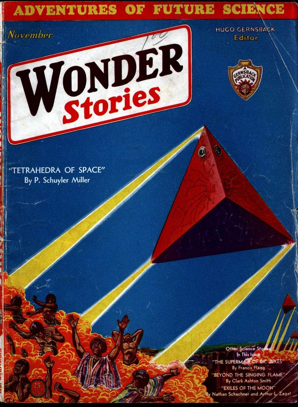 Comic Book Cover For Wonder Stories v3 06 - Tetrahedra of Space - P. Schuyler Miller