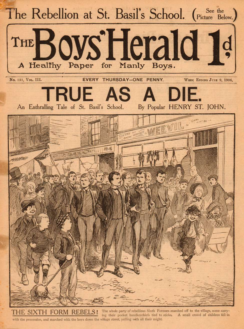 Comic Book Cover For The Boys' Herald 151 - The Sixth Form Rebels