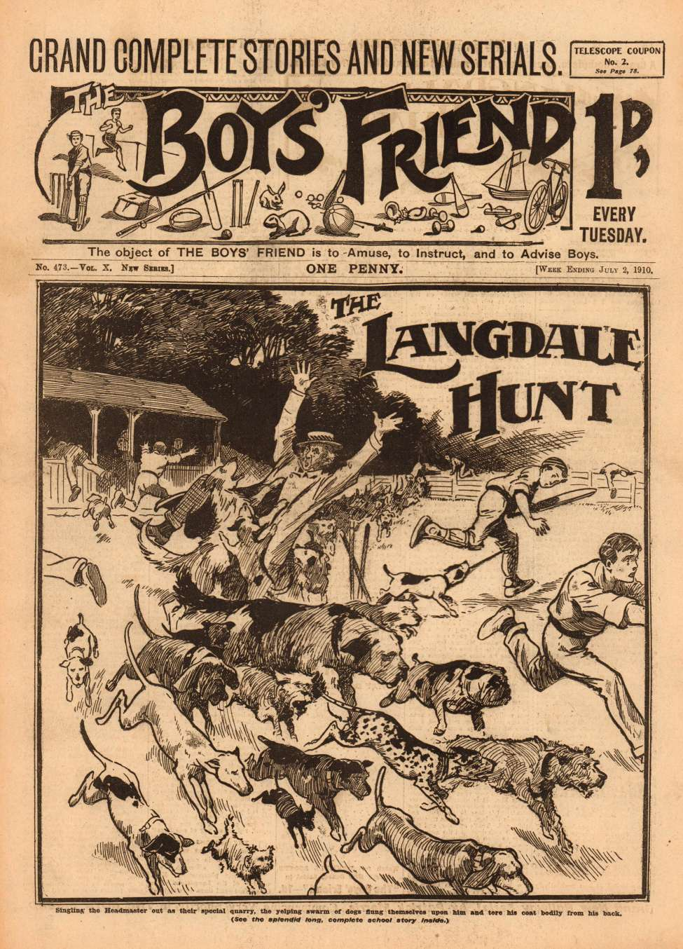 Comic Book Cover For The Boys' Friend 0473 - The Langdale Hunt