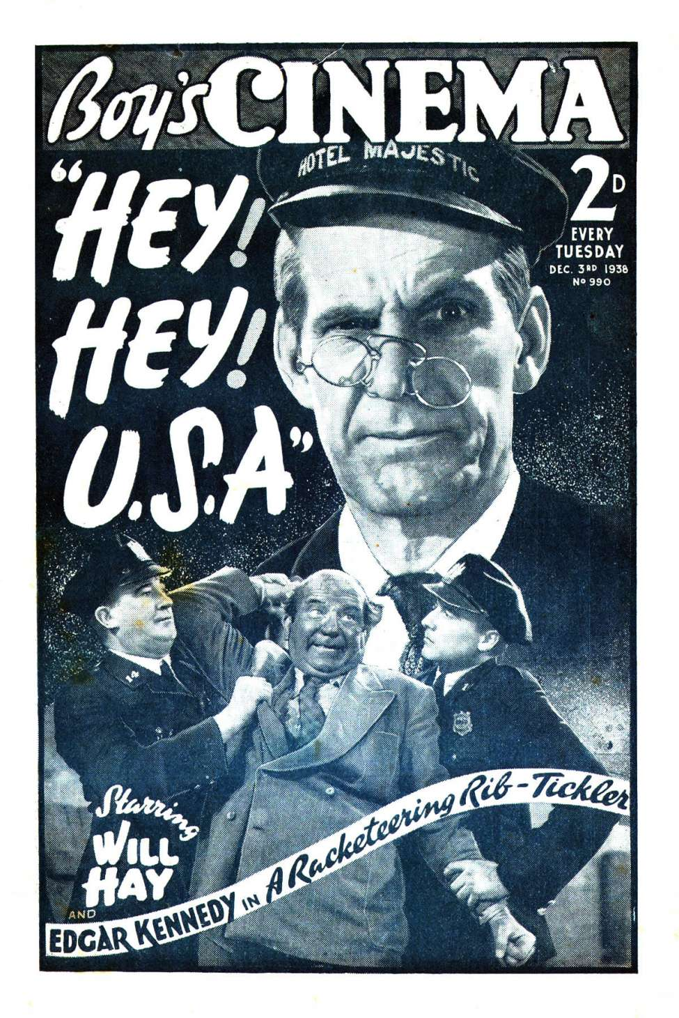 Comic Book Cover For Boy's Cinema 0990 - Hey! Hey! U.S.A. starring Will Hay