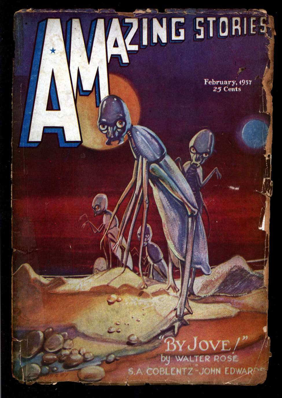 Comic Book Cover For Amazing Stories v11 01 - The Planet of Perpetual Night - John Edwards
