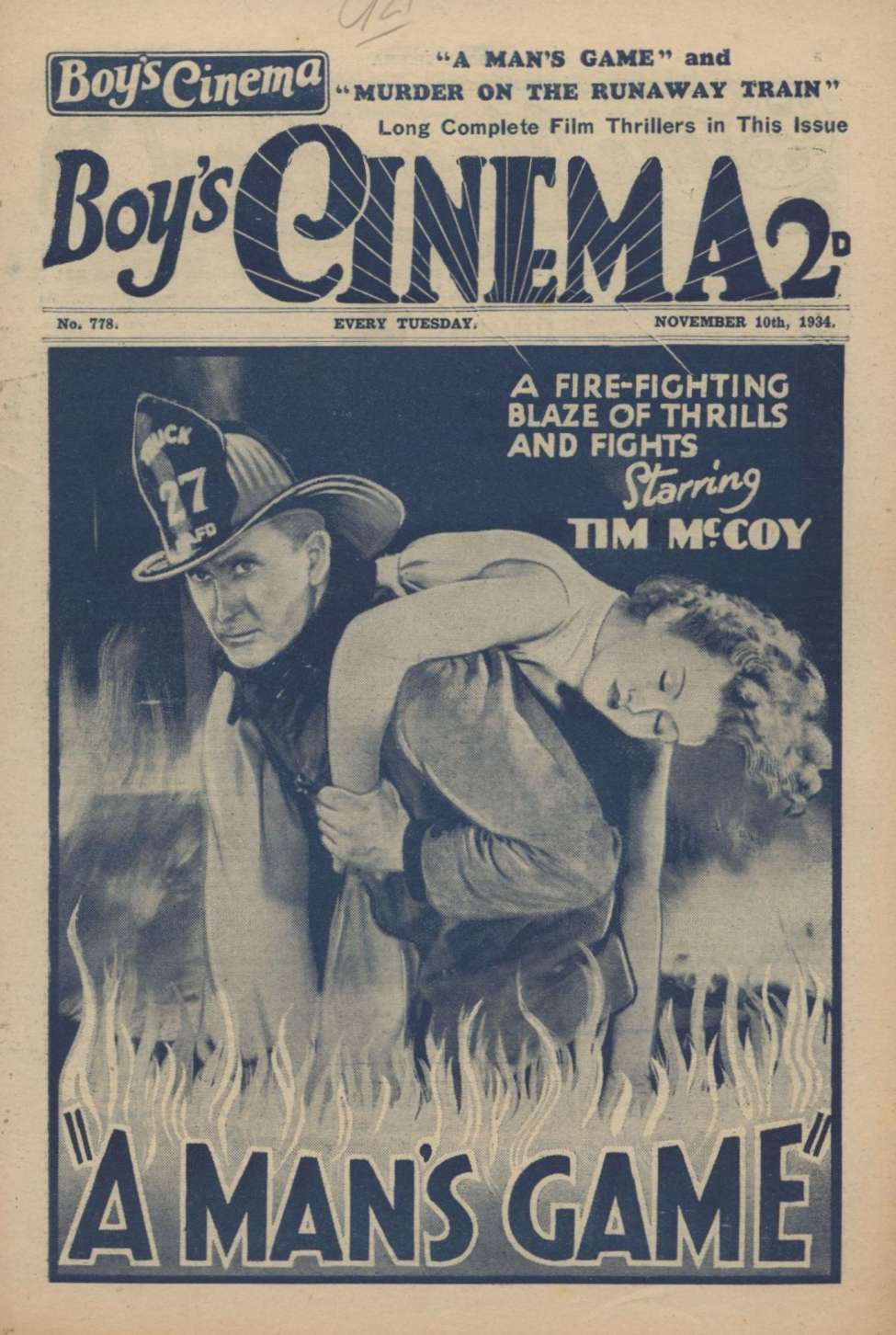 Comic Book Cover For Boy's Cinema 0778 - A Man's Game starring Tim McCoy